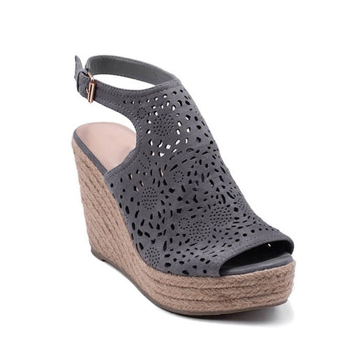 Grey espadrille platform peep toe wedge sandals with laser-cut outs.  ATLANTA