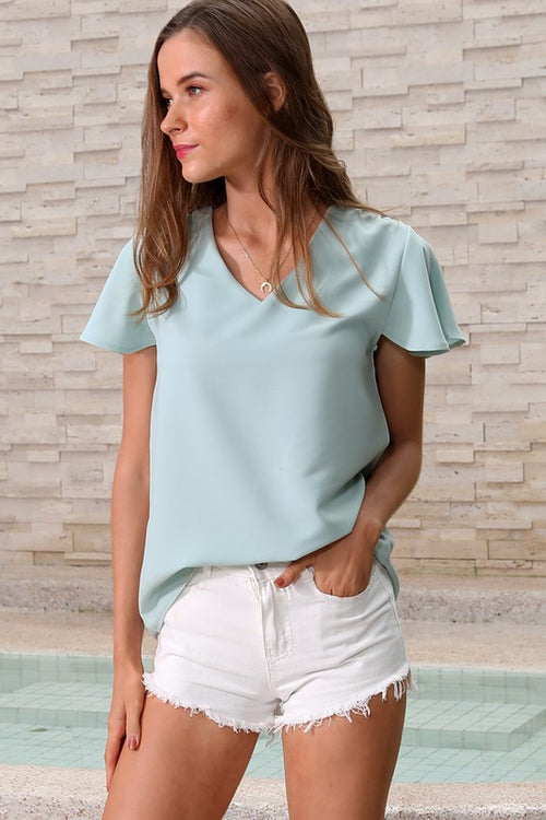 Short Sleeve Casual Top - Green