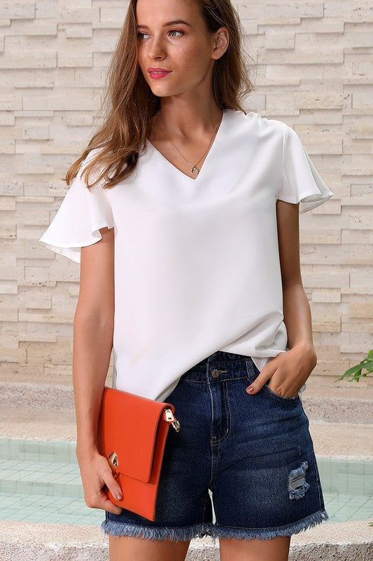 Short Sleeve Casual Top -White