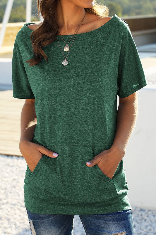 GREEN SHORT SLEEVE ONE SHOULDER BASIC SIMPLE TUNIC TOP