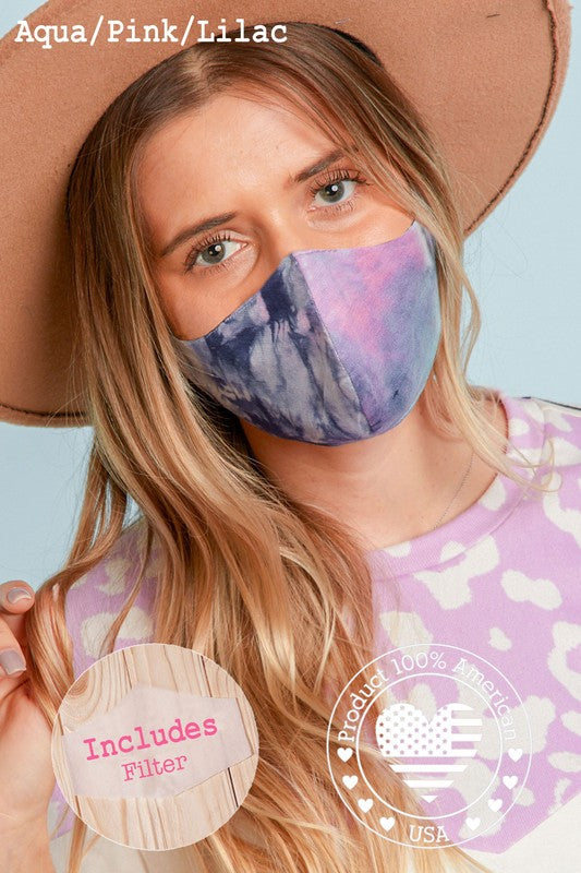 Purple Gradient COTTON FITTED FACE MASK WITH FILTER