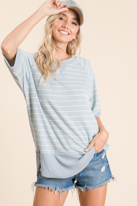 Relaxed Blue Stripe Top - FrouFrou Couture