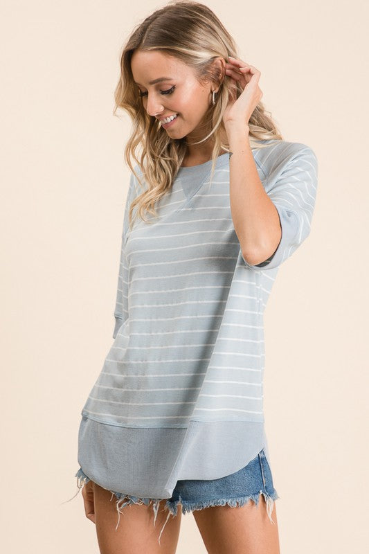 Relaxed Blue Stripe Top