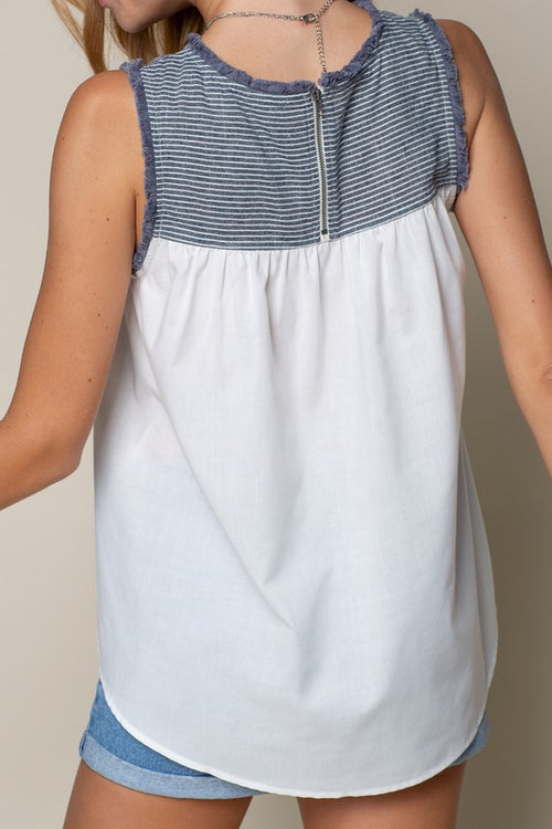 SLEEVELESS STRIPED CHAMBRAY TOP WITH FRAYED EDGES
