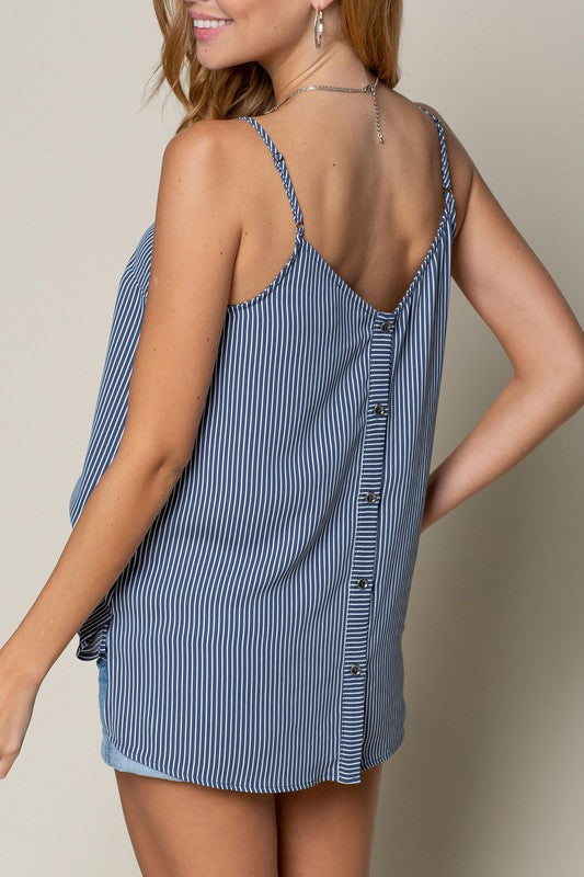 STRIPE TANK WITH BUTTON DOWN BACK - FrouFrou Couture