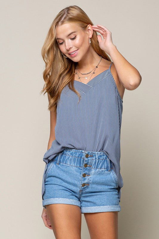 STRIPE TANK WITH BUTTON DOWN BACK
