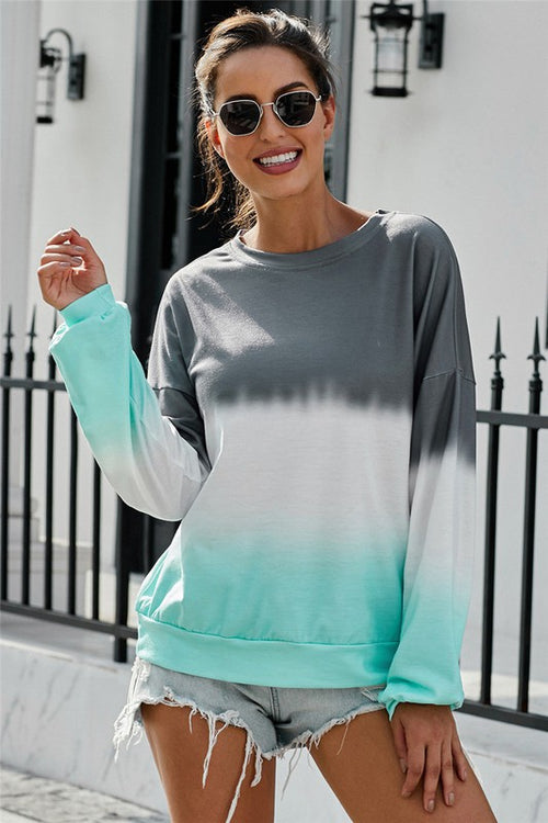 Color Block Tie Dye Pullover Sweatshirt