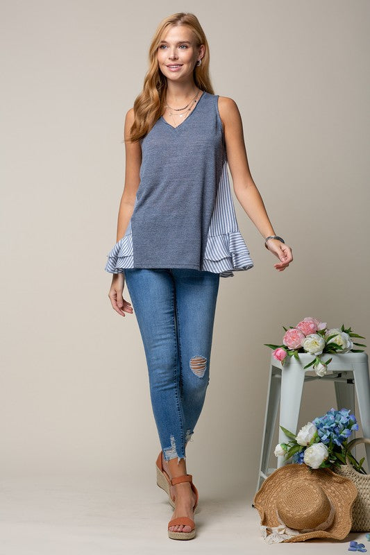 CONTRAST BOTTOM DOUBLE RUFFLED TOP