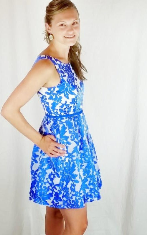 Royal Blue Embroidered Floral Multi-Layer Cocktail Dress