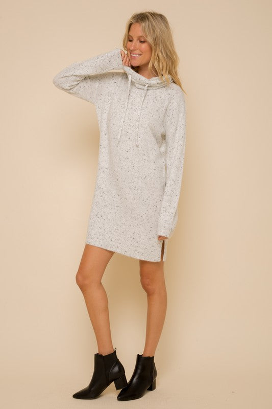 Cream SOFT SPACKLED HIGH NECK SWEATER DRESS