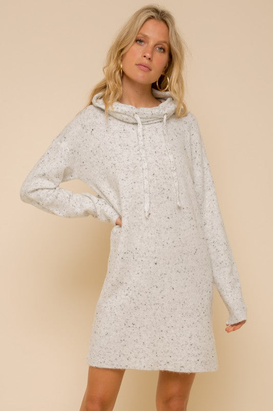SOFT SPACKLED HIGH NECK SWEATER DRESS