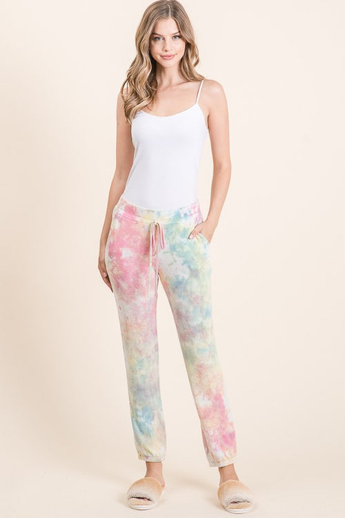 Multi color tiger brushed tie Dye jogger with side pockets