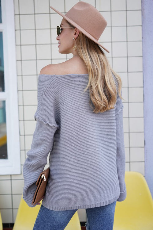GREY LONG SLEEVE HERRINGBONE V NECK ONE SHOULDER TRENDY SWEATER