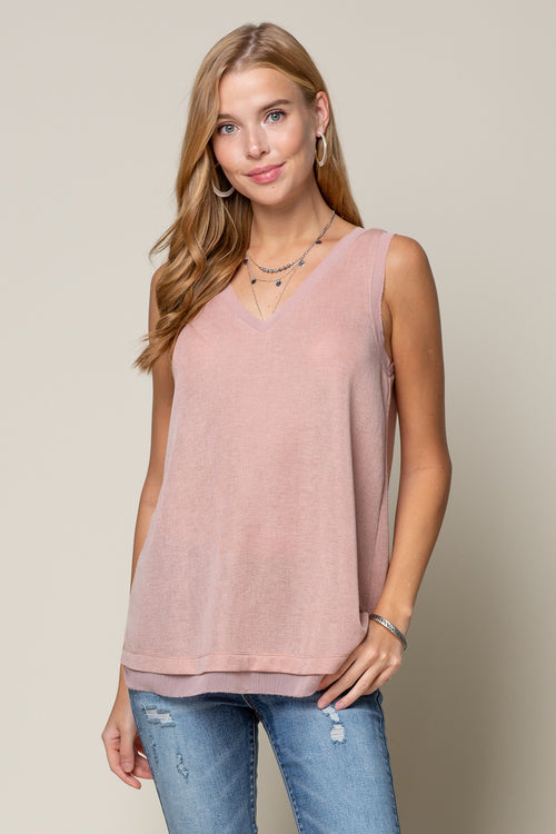 PEACH ROSE DEEP V NECK KNIT TANK WITH SHEER EDGING DETAIL