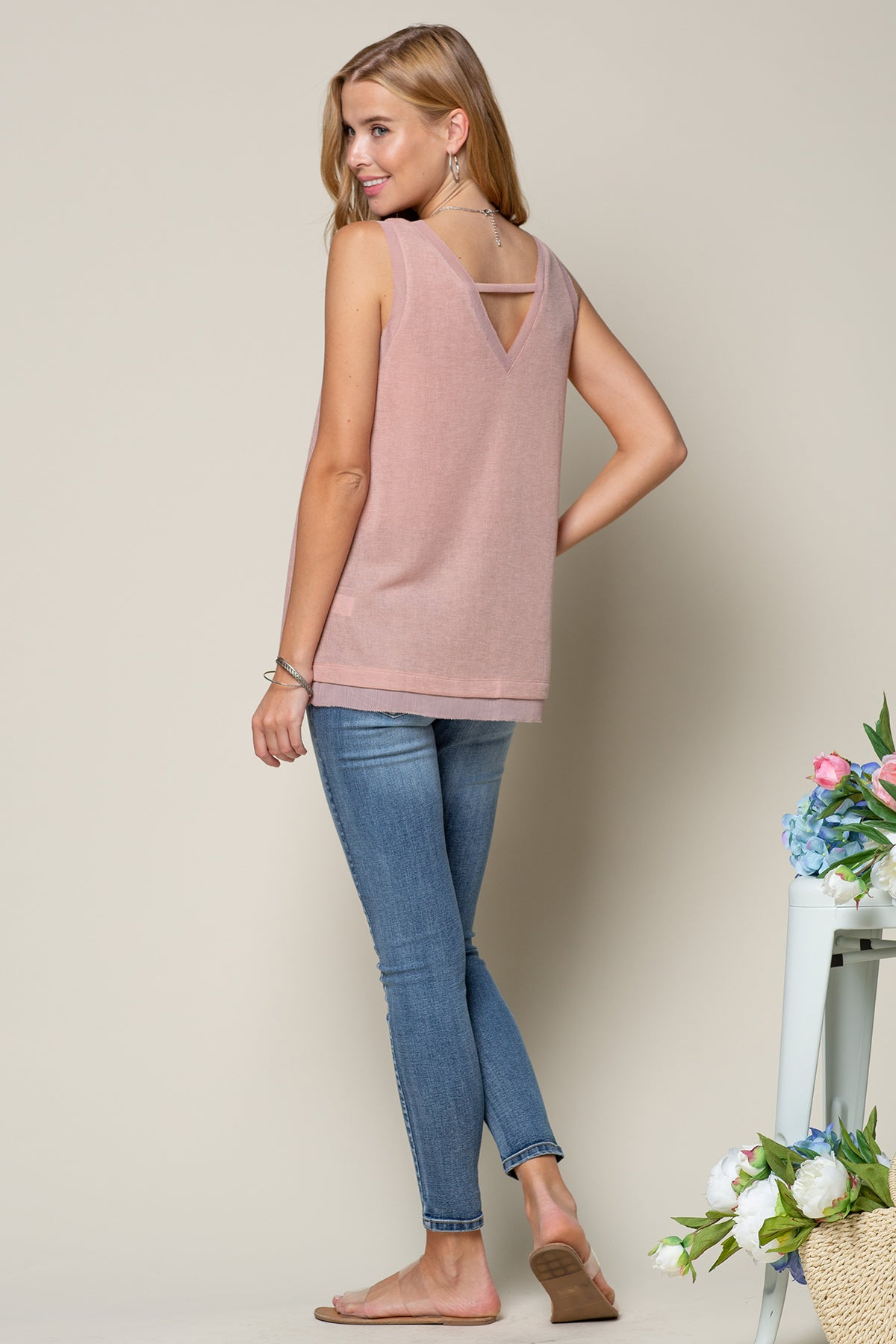 DUSTY MAUVE DEEP V NECK KNIT TANK WITH SHEER EDGING DETAIL