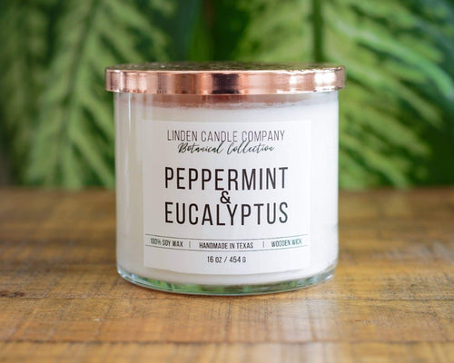 16oz Peppermint & Eucalyptus Wood Wick Spa Candle - FrouFrou Couture
