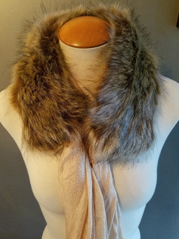 Beige Faux Fur Collar Scarf - FrouFrou Couture