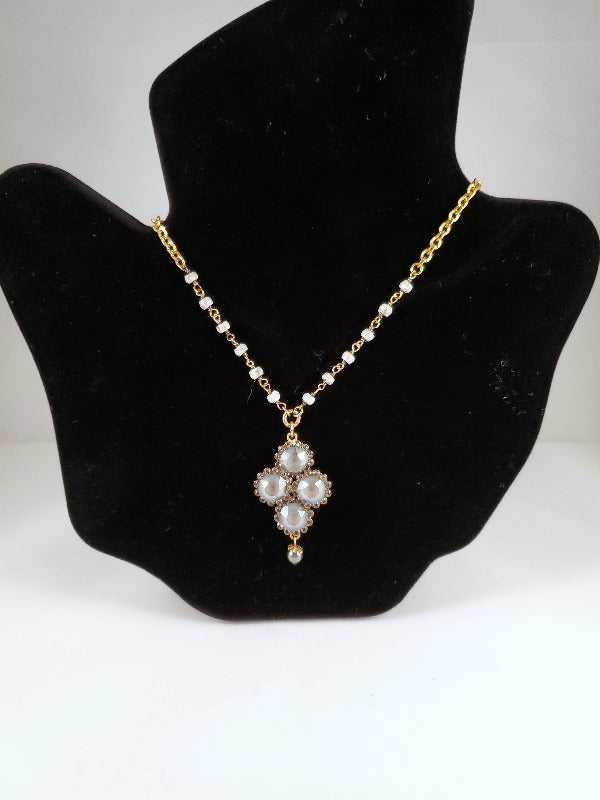 Catherine Popesco Diamond Shape Crystal Flower Necklace with Semi Precious Beads - FrouFrou Couture