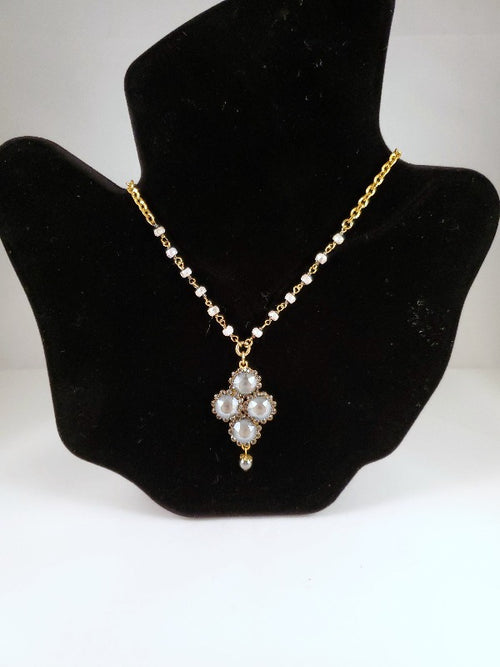 Catherine Popesco Diamond Shape Crystal Flower Necklace with Semi Precious Beads
