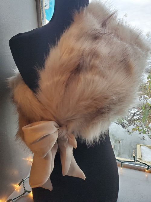 Faux Fur Shawl with Scarf Tie