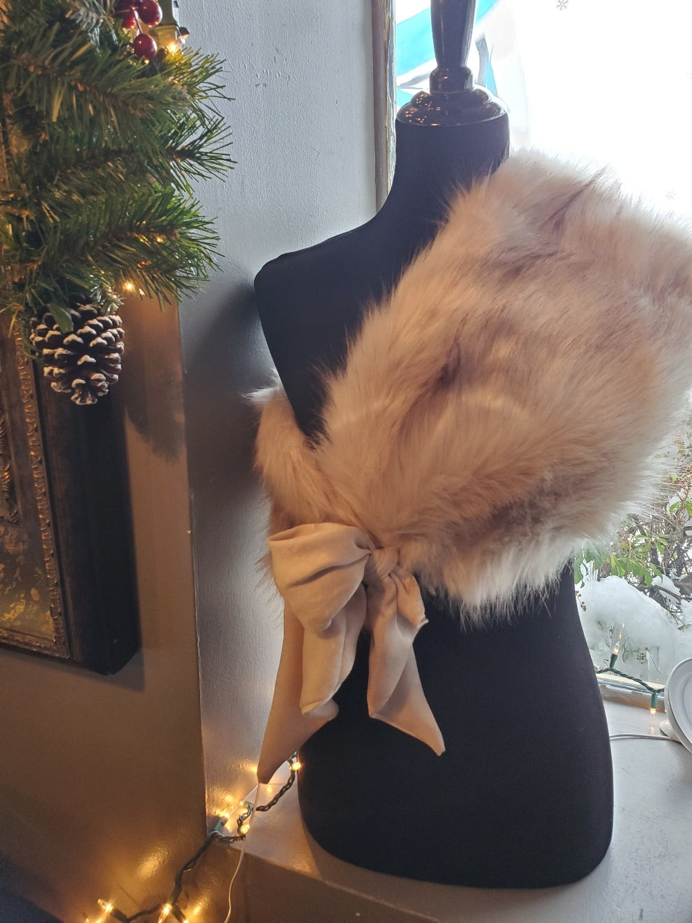 Faux Fur Shawl with Scarf Tie - FrouFrou Couture