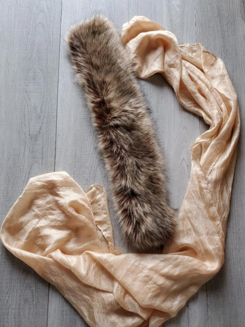 beige faux fur collar scarf with detachable scarf