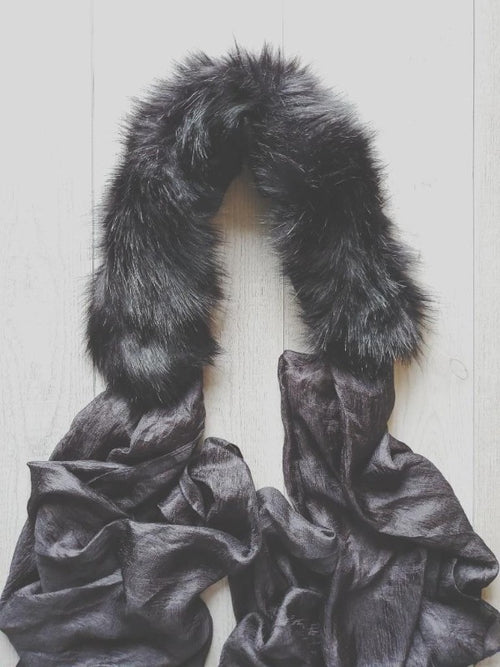 Black Faux Fur Collar Scarf - FrouFrou Couture