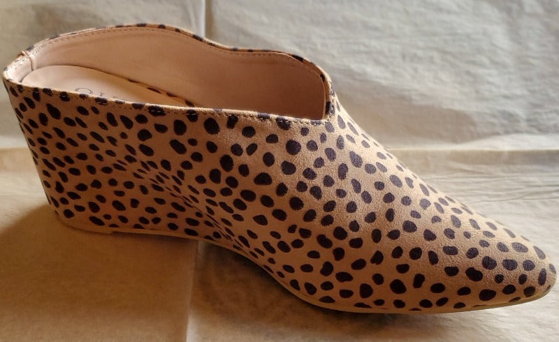 Leopard Pointed Toe Slip On Wedges