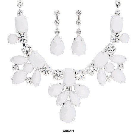 Austrian Crystal Accent Necklace with matching Earrings - FrouFrou Couture