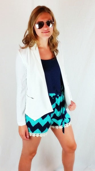 Chevron Shorts with Lace Trim