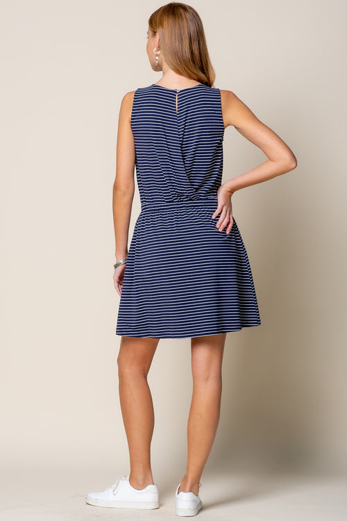 Navy Striped Open Back Dress - FrouFrou Couture