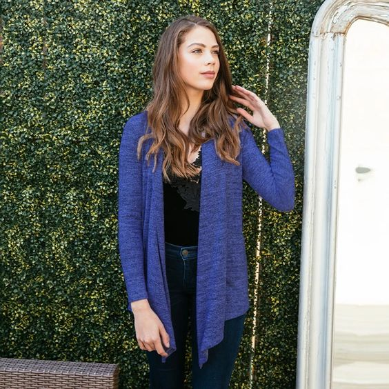 Carefree Threads Fly Away Cardigan by Hello Mello in navy heather knit fabric