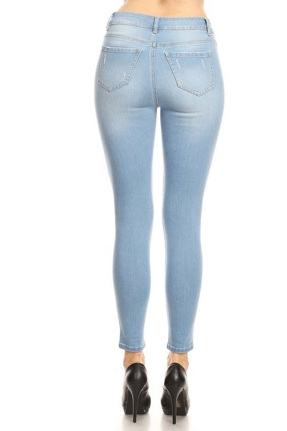 Super Soft Mid Rise Ankle Skinny Jeans - Light Wash