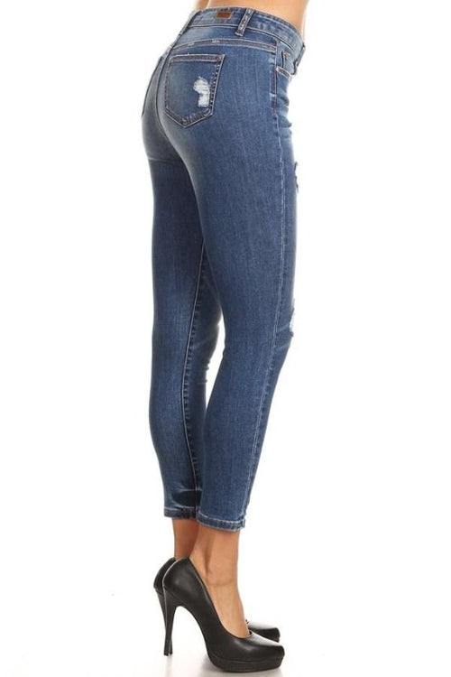 Chewed Hem Stretchy Soft Ankle Skinny Jeans