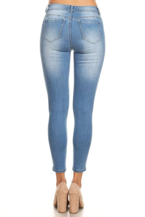 Classic High Rise Ankle Cropped Skinny jeans with Fades