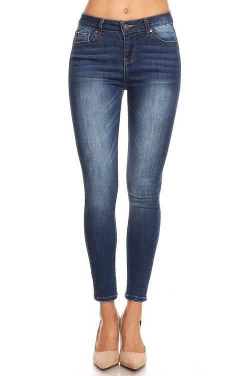 Classic High Rise Ankle Cropped Skinny jeans with Fades - Med Wash