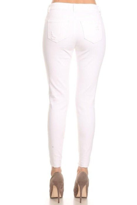 Mid-rise 5-pocket cropped white skinny jeans with destructions