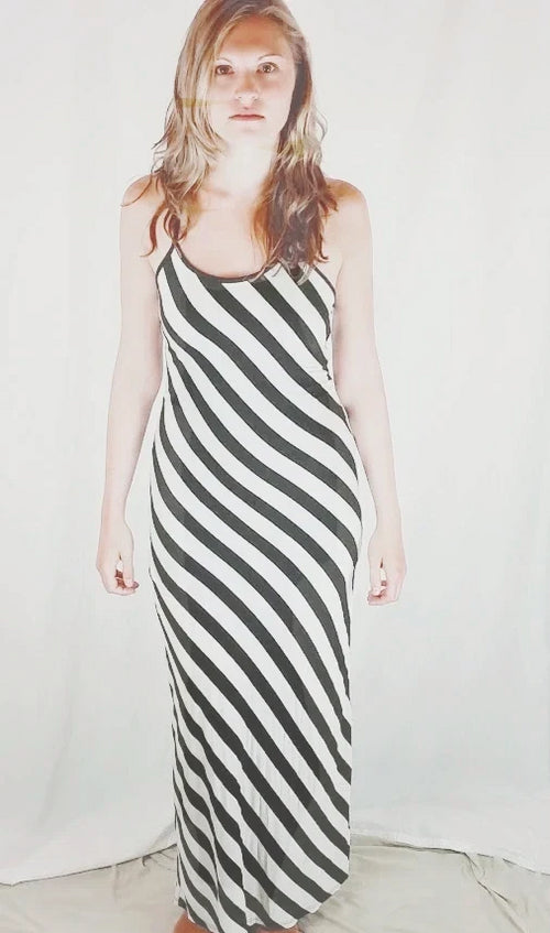 Open Back Striped Maxi Dress