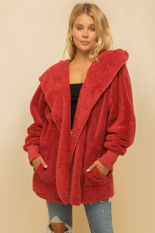 Faux fur So Soft plush hooded jacket with pockets - Red, Navy, Teal, Steel Grey - FrouFrou Couture