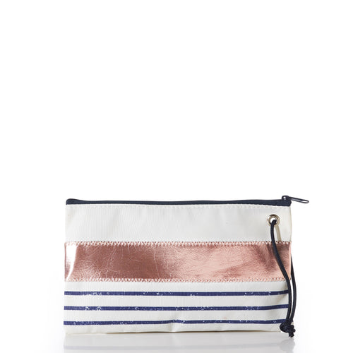 Large Wristlet, Rose Gold on Navy Mariner Stripe