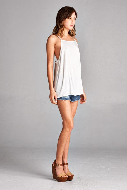 Ivory Tank with Chevron Back Detail - FrouFrou Couture