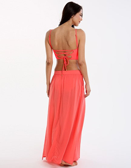 Phax Color Mix Maxi Skirt - Coral