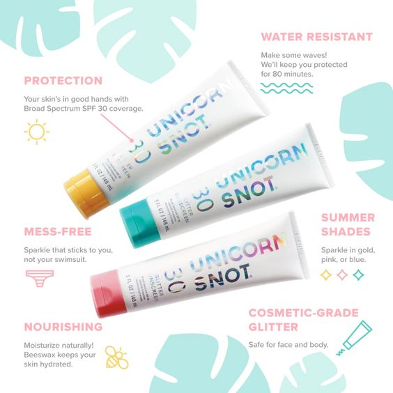 Unicorn Snot Glitter Sunscreen - Pink Holographic 30 SPF - FrouFrou Couture