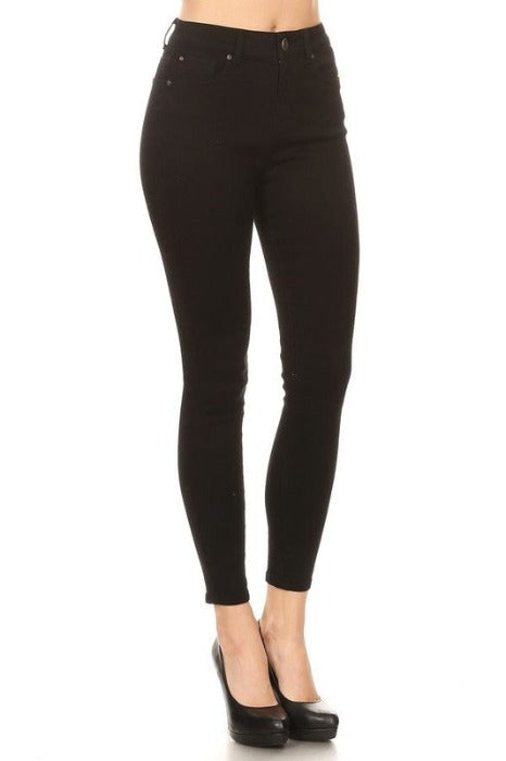Black High Rise Cropped Skinny Jeans - EP3035