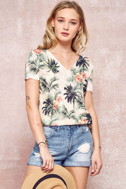 Floral palm tree print top