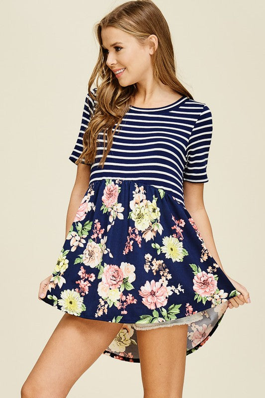 Striped And Floral Short Sleeve Knit Top