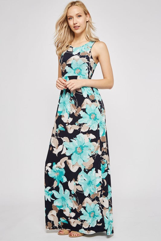 Floral Print Mint Maxi Dress - FrouFrou Couture