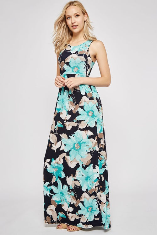Floral print poly spandex tank maxi dress. Razor back. Hidden pocket.