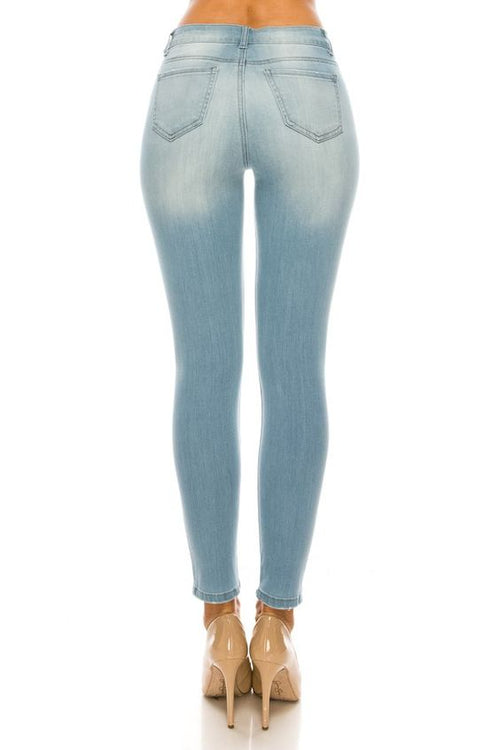 Premium Modal Distressed Skinny Jeans - light wash