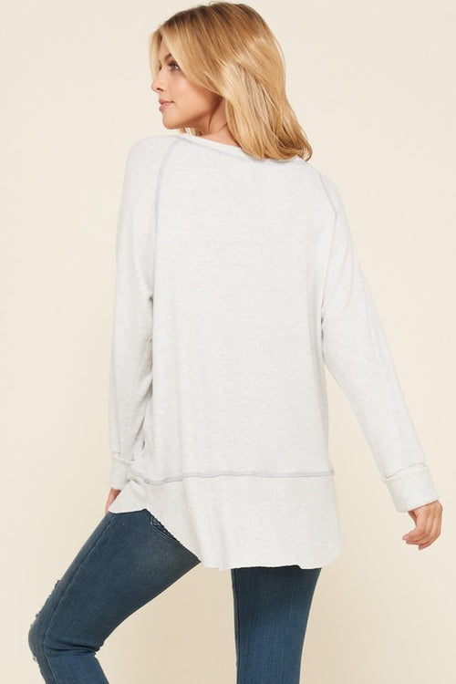 Super Soft Double Layered Knit Tunic - Lighter Grey